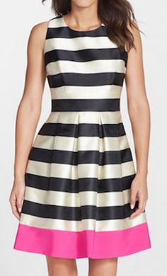Striped black, white, and pink fit and flare dress