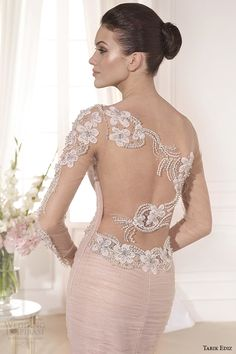 tarik ediz 2014 bridal collection illusion long sleeves blush fit and flare wedding dress back zoom lilyum