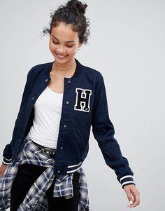 Hollister varsity jacket Shop Hollister varsity jacket at ASOS. Hollister Outfit, Hollister Clothes, Hollister Jackets, Varsity Jacket Outfit, Bomber Jacket, Sporty Outfits, Casual Winter Outfits, Leather Varsity Jackets, Formal Wear Women
