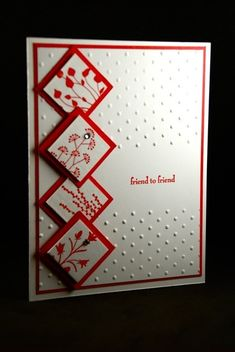 Nice embossed card, using square punches.  I'm thinking I may need to get some square punches next!