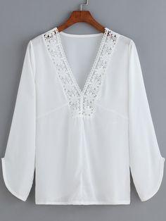 SheIn(sheinside) White V Neck Floral Crochet Chiffon Blouse Linen Blouse, Tunic Blouse, Shirt Blouses, Tunic Tops, Blouse Styles, Blouse Designs, Chiffon Blouses, Lace Chiffon, White V Necks