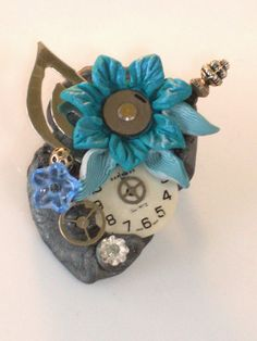 Polymer clay steampunk Pin/Brooch with by DramatiKDesigns on Etsy, $14.95