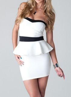 White Cocktail Dress - Sweetheart Peplum Dress | UsTrendy