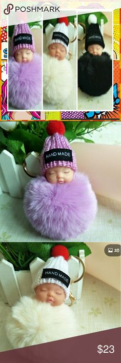 Rabbit Fur Pompom Sleeping Baby Doll Keychains Absolutely adorable key chains   I am still waiting for a few more of these keychains.  These are perfect for a baby shower, or gifts for a new mommy.   The pompoms are made of real rabbit fur.  They are not cheaply made. They are pretty thick and sturdy.   Offers welcome, but Please no Low ball offers.  These cuties were not cheap. I will def bundle and give you an amazing bundle deal.   Stop by my closet for more adorable key chains. & Other…