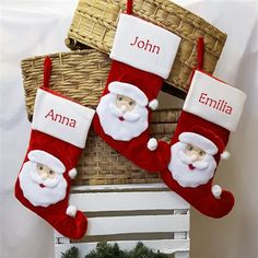 New to WowWee.ie for Christmas 2016! Personalised Christmas Stocking features cute pom pom details and a velvet Santa wearing glasses. Your family's names embroidered just for you!