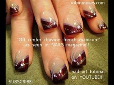 OFF-CENTER CHEVRON FRENCH MANICURE for  NAILS mag: robin moses nail art design tutorial