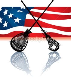 Female Lacrosse Sticks and American Flag Background | Stock Illustration | iStock