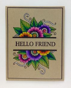 Bold and Blooming by Colorin' Kate - Cards and Paper Crafts at Splitcoaststampers Birthday Card Drawing, Birthday Cards, Altenew Cards, Mandala Art Lesson, Friendship Cards, Copics, Paper Cards, Creative Cards, Cool Cards