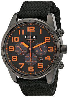 Seiko watches Seiko Watches seiko sport solar black and orange dial chronograph watch BNFSLGB Casual Watches, Cool Watches, Watches For Men, Seiko Solar, Solar Watch, Seiko Watches, Rolex, Stainless Steel Watch, Men Watches