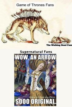 I'm literally apart of TWD fandom and the Supernatural fandom and this is so accurate! Destiel, Jared Padalecki, Fandoms, Winchester, Funny Memes, Hilarious, Fandom Crossover, Bubbline, Supernatural Memes