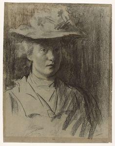 Portret van een jonge vrouw met hoed, mogelijk Lizzy Ansingh, Th�r�se Schwartze, 1910