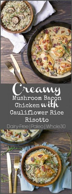 This is the ultimate comfort food healthy dish!! A creamy mushroom sauce with skillet chicken, crispy bacon, and plated on top a Cauliflower Rice Mushroom Risotto. This recipe can be made fast for a healthy weeknight meal, but also is elegant enough to serve to guests! OMGEEEEEE. You guys are going to love this dish!... Get the Recipe