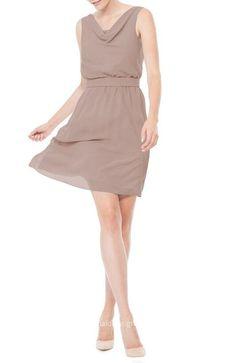 coffee scoop neck flowy simple short chiffon bridesmaid dress