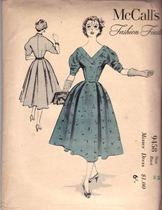 50s Full Skirt Evening Dress Sewing Pattern McCall's 9458 Fashion Firsts Vintage Pattern Size 18 Bust 36 Inches