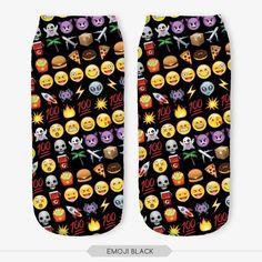 Emoji Black Print Women's Low Ankle Socks