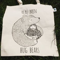 Eco Tote Cotton Bag: Bearded Man hugging a Bear - Beard Lumberjack Animal Forest…