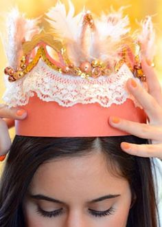 #DIYCrowns: A simple crown shape cut from a bright piece of cardstock, taped end-to-end and decked with all manner of accents is a showstopper you'll wan to keep. Created and photographed by Lady Spring @ HeyLadySpring