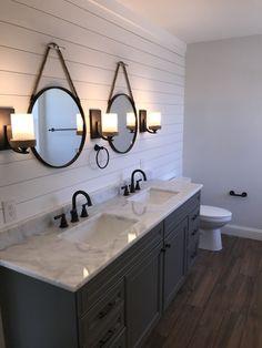 Wood Tile Bathroom Floor, Grey Bathroom Vanity, Gray And White Bathroom, Shiplap Bathroom, Bathroom Renos, Small Bathroom, Master Bathroom, Gray Vanity, Bathroom Ideas