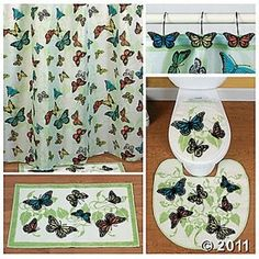 butterfly bathroom complete bathroom shower curtain rugs hooks mat set new