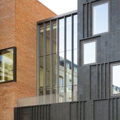 Corner Window detail with brick cladding  MAC Belfast by Hackett Hall McKnight