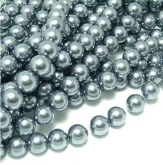 8mm charcoal gray glass pearl beads, 5-50 pieces. More colors & sizes available for separate purchase. Jewelry findings, beads, FOE, ribbon, elastic, shabby trim & more available!