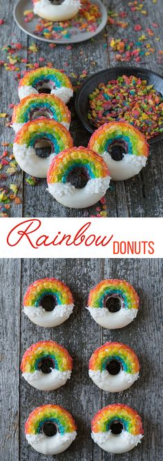 Rainbow Donuts for #StPatricksDay - these fun donuts are made using fruity pebbles, white chocolate and shredded coconut!