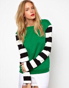 Lavish Alice Sweatshirt With Stripe Sleeves