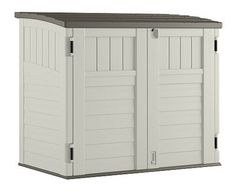 Suncast Horizontal Outdoor Storage Shed for Backyards and Patios 34 Cubic Feet Capacity for Garbage Cans, Tools and Garden Accessories, Vanilla Suncast Storage Shed, Backyard Storage Sheds, Shed Storage, Bike Storage, Big Storage Boxes, Storage Ideas, Patio Storage, Garbage Can Storage, Garbage Shed