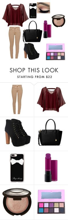 """Untitled #241"" by sparkle-i ❤ liked on Polyvore featuring Barbour, Traffic People, Jeffrey Campbell, MICHAEL Michael Kors, Casetify, MAC Cosmetics and Becca"