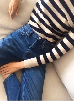 black and white striped top classic jeans