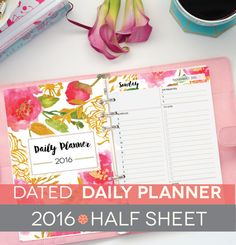 Daily Planner Printable Half Sheet A5, Monthly Calendar, Day Plan, Hourly Schedule, 2015 2016 DATED, Floral Watercolor, To Do List, Perennial