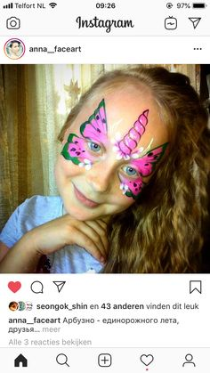 Watermelon Face, Butterfly Face Paint, Pony, Painting, Instagram, Pony Horse, Painting Art, Paintings, Painted Canvas