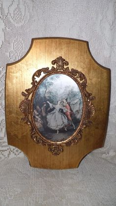 VINTAGE FRENCH GOLD WOOD FRAME ORMOLU ORNATE DANCING COURTING COUPLE PORTRAIT