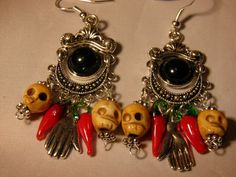 Artisan Hand Crafted Day of the Dead Earrings Black Bone Sugar Skulls by MelancholyMind on Etsy