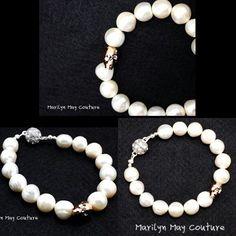 super gorgeous large fresh water pearl bracelet with swarovski skull element!