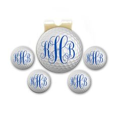 Golf Ball Markers - Magnetic - Golf Ball Monogram - Set of 5 Markers Plus Hat Clip