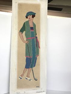 Lady Holding Golf Club Golf Studio 2LTO Blue Needlepoint Picture 33 Inches Tall #Unbranded