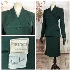 Christmas Sale 1940s Wool Gabardine Suit and Velvet Hat