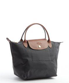 Longchamp grey nylon 'Le Pliage' small tote