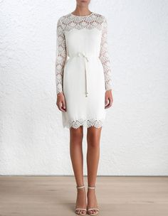 Crepe Lace Shift Dress, from our Spring 16 collection, in Porcelain crepe with lace sleeve and hem. Scalloped lace detail neckline and shoulder. Shift dress with removable self tie belt. Shoulder zip closure. love this!