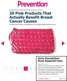 @Carol Van De Maele Van De Maele Pratt Magazine featured the Avon Foundation's Rose Zippered Case in a roundup of Pink Products that benefit #BreastCancer causes! Shop for Avon online at http://eseagren.avonrepresentative.com