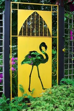 Yellow Flamingo Garden Art - how to use yellow in the garden