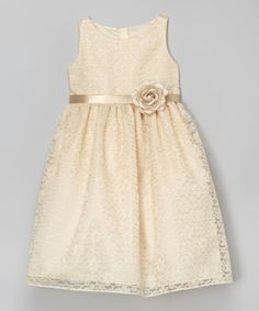 Another great find on #zulily! Champagne Floral Lace Dress - Toddler & Girls #zulilyfinds