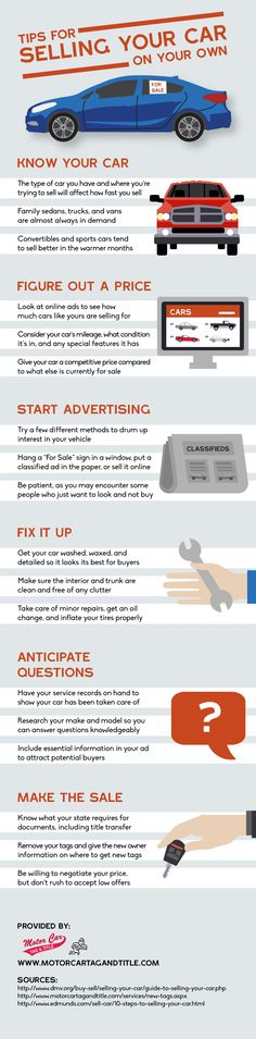Tips for Selling Your Car On Your Own --shared by BrittSE on Aug 02, 2014 - See more at: http://visual.ly/tips-selling-your-car-your-own#sthash.8W0cSwRg.dpuf