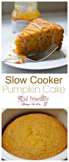 Moist and Delicious Slow Cooker Pumpkin Cake Recipe - Perfect for fall or anytime! Easy to make in the Crock-pot - www.kidfriendlythingstodo.com