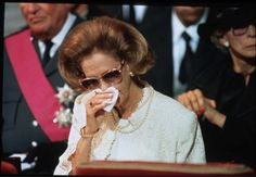 Queen Fabiola on the funeral of her husband King Baudouin of the Belgians in 1993