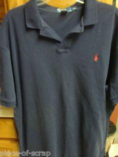 $27 RALPH LAUREN POLO Mens Golf Shirt size XXL 2XL 2X S/S Short Sleeve S/S Navy Blue