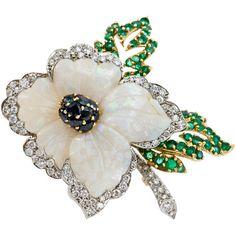 Carved Opal Flower Brooch