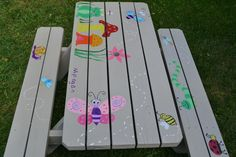 Hand painted children's picnic table. Painted by Monica