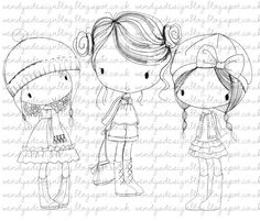 Instant download stamp for scrapbooking, cardmaking and other crafting purposes. Includes all girls together, and individually.    All of the